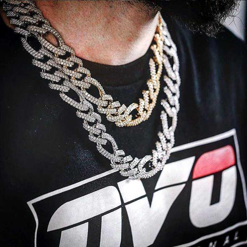 Miami Küba Çin Ağır kolye çatal Gümüş Renk buzlu Out Taşlı Figaro Zinciri Erkekler Kolyeler Hip Hop Moda Takı