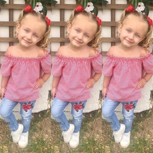 New Fashion Kids Girls Clothes Set Baby Girls Striped Off Shoulder Tops Embroidered Denim Pants Children Casual Outfits Clothes
