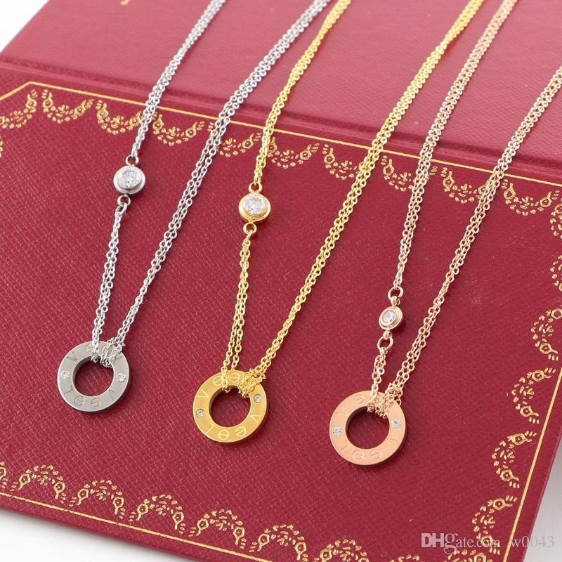 Círculo de diseño de lujo Ronda Collar del amor collares pendientes para las mujeres elegantes canal de joyería clavícula collar de regalo de Carter