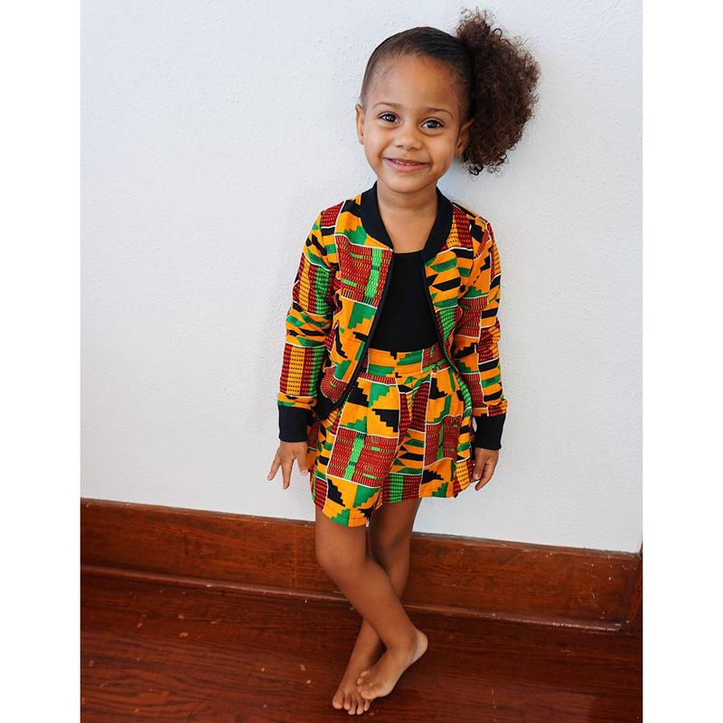 2020 Kinder Mädchen-Kleidungs-Satz Afrika gedruckt Reißverschluss-Mantel-Tops + Kleid 2-teiliges Set Böhmen Frühling und Herbst-Kind-Mädchen-Kleidung
