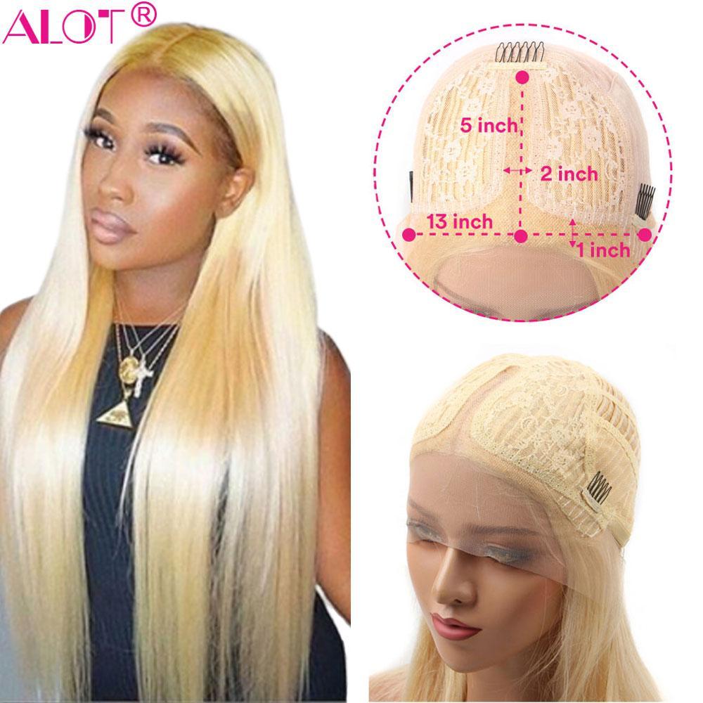 13x1 중간 부분 스트레이트 금발 레이스 정면 가발 긴 이십팔인치 브라질 레미 인간의 머리 (613) 부분 가발 사전 뽑아 아기 머리