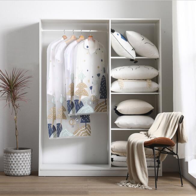 Пылезащитные висячие сумки для хранения одежды прозрачный принт одежда шкаф для хранения сумка платье костюм пальто одежда сумка Organador