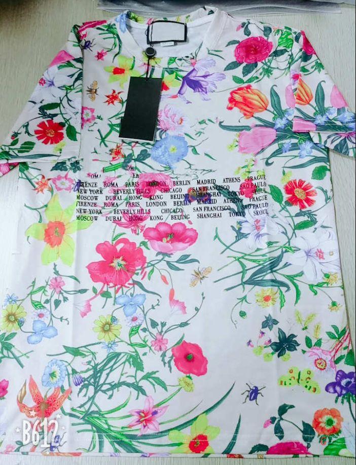 Mens T Shirt Flor Verão Casual New roupas de grife letras impressas manga curta padrão colorido Tees tamanho asiático lll9012403 / 2