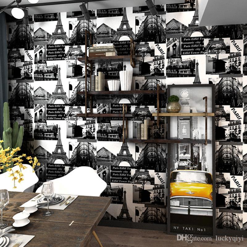 papel pintado americano de la vendimia vieja torre de hierro de diseño café restaurante de la personalidad del papel pintado industrial barbero tienda de ropa de hotel