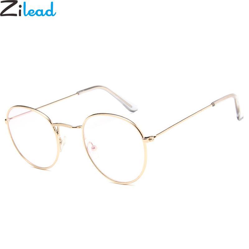 Zilead lunettes rondes en métal Cadre WomenMen clair Objectif optique Spectacle Lunettes Lunettes uni