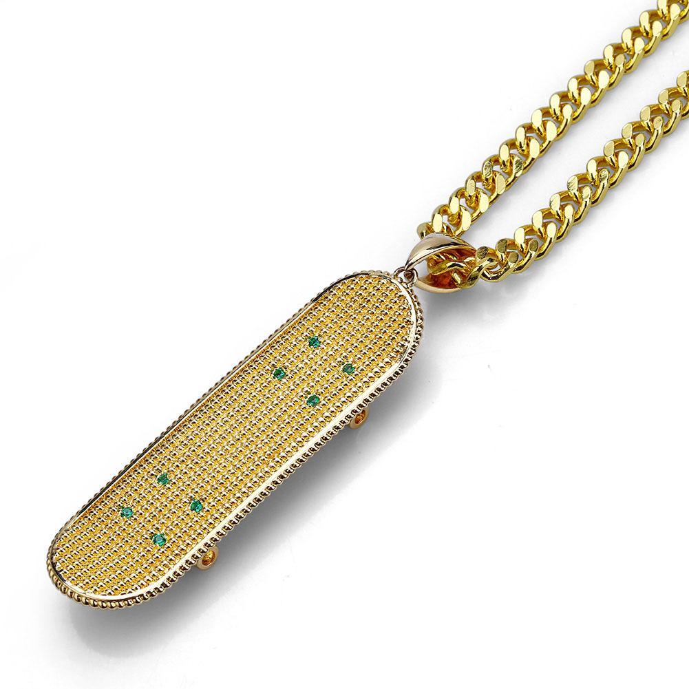 Nuovi pendenti placcati in oro placcati da skateboard hiphop hip-hop esagerato collana di marea diretta della fabbrica