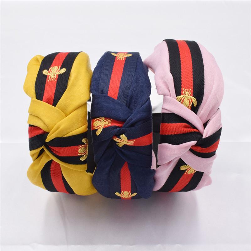 Bandas Hairbands Listrado Abelha Headband para adulto Moda feminina Imprimir Acessórios Cabelo 13 estilos de qualidade Top
