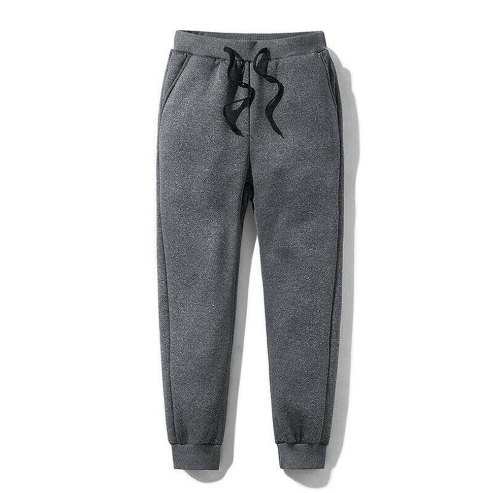 Мужчины толстый флис термобелье брюки открытый зима теплая свободного покроя брюки бегунов спортивные KNG88