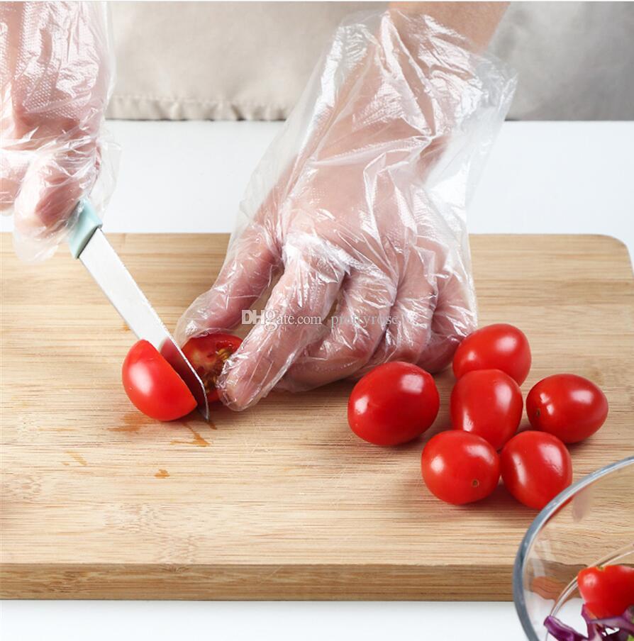 100PCS / paquete transparente guantes desechables de látex respetuoso del medio ambiente libre de plástico para alimentos de preparación segura de los hogares de las bacterias Guantes Touchless