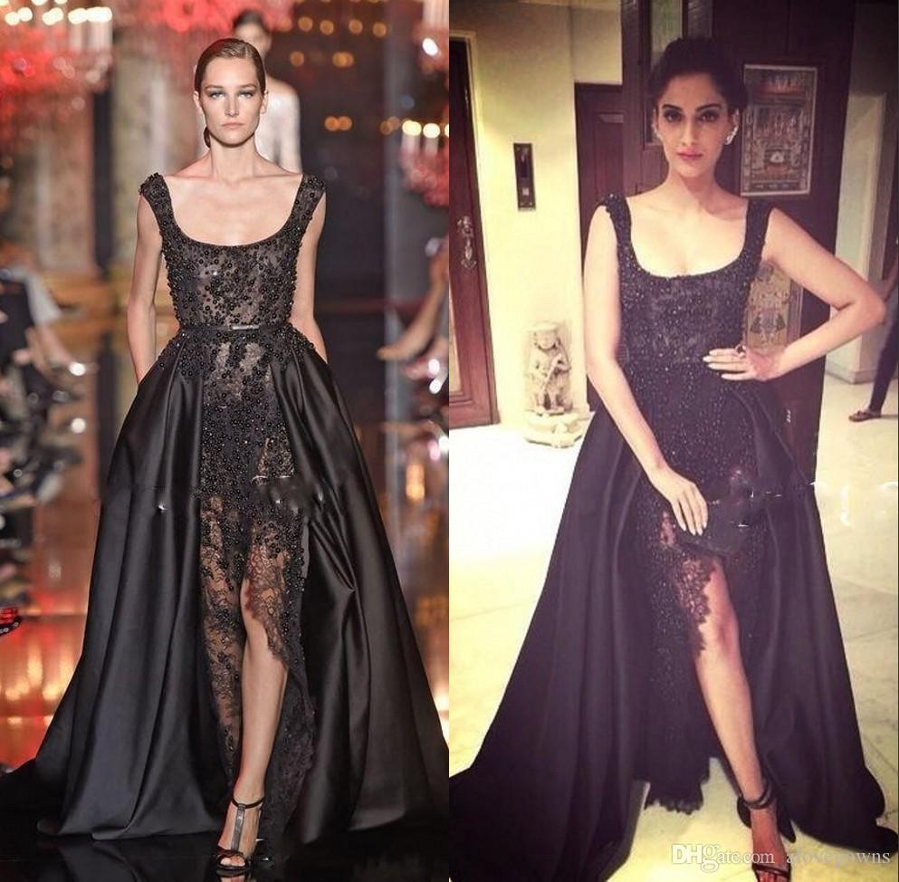 Hot Sale Elie Saab Real Buyer Show Evening Dresses Long Black Lace Pearls Crystal Black Prom Dresses Split Dubai Saudi Arabic Evening Gowns
