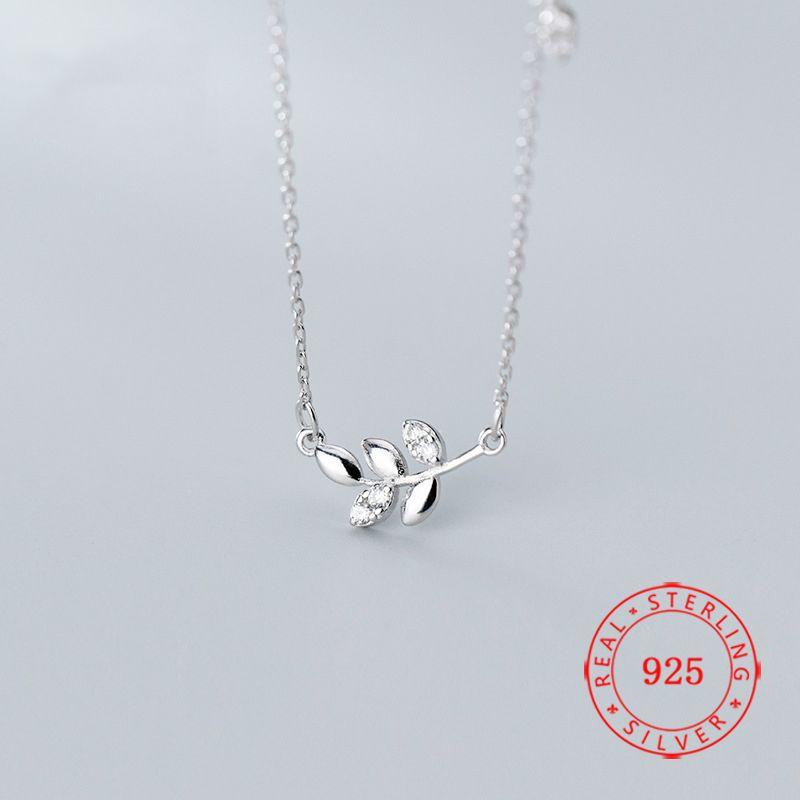 Hot Sale Unique Pure 925 Sterling Silver Leaf Branch Necklaces for Women Female fine silver necklace pendant