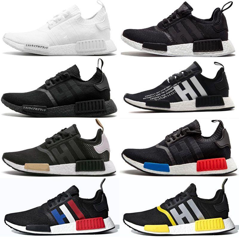 Migliore qualità R1 Primeknit Runner per gli uomini donne scarpe Olimpiadi di uscita tripla Nero Designer sneakers sport formatori 36-45 Esecuzione