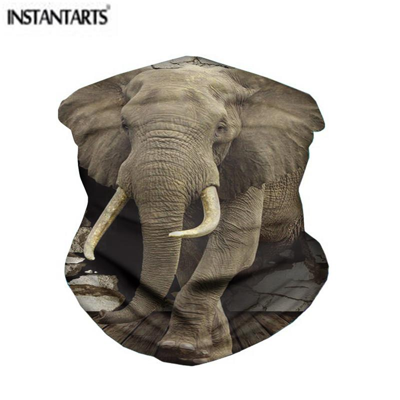INSTANTARTS 3D Cool Elephant Print Outdoor Riding Face Cycling Motorcycle Head Scarf Neck Warmer Sport Face Scarves 2020