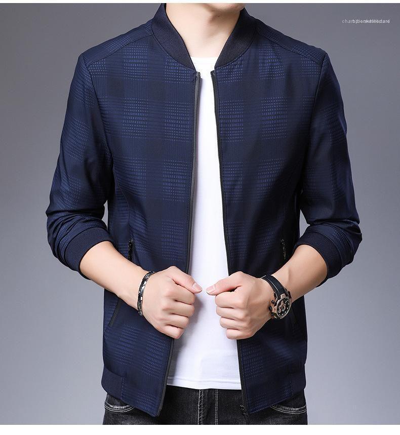 Mens Designer Jacket Fashion Long Sleeve Zipper Casual Outwear Solid Color Plaid Male Coats Plus Size