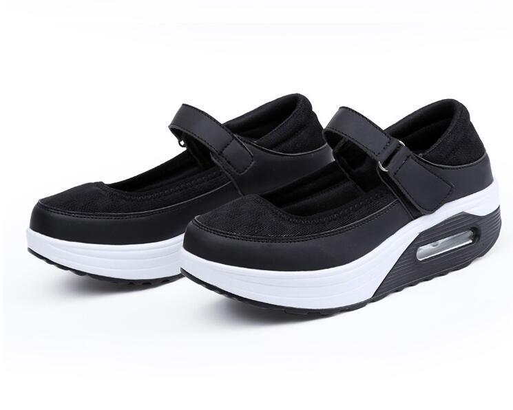 Kadın Artı Boyutu kama Hemşire ayakkabı platformu spor ayakkabı Heightening ayakkabı Sığ ağız Kanca Döngü Nefes Rahat ayakkabılar