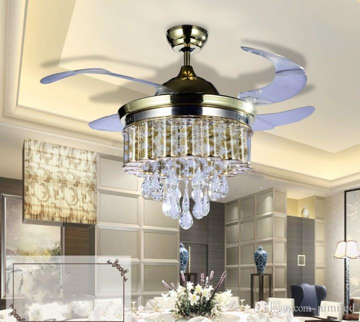 Led Fans Light AC 110V 220V Invisible Blades Ceiling Fans Modern Fan Lamp Living Room 42 inch Chandeliers Ceiling Light Pendant Lamp LLFA
