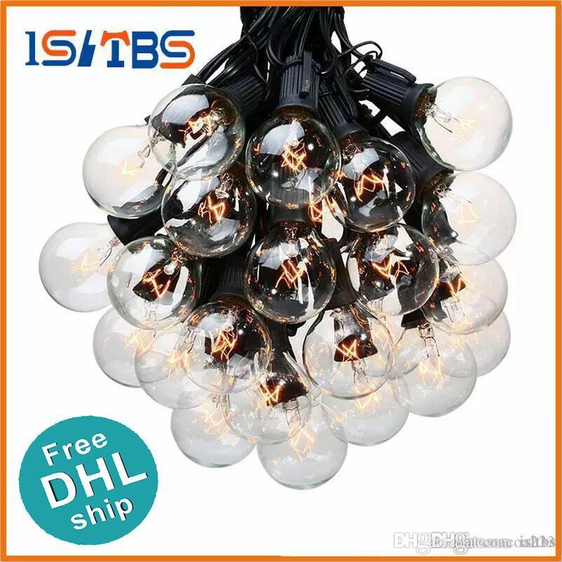 DHL free shipping 25Ft G40 Bulb Globe String Lights with Clear Bulb Backyard Patio Lights Vintage Bulbs Decorative Outdoor Garland Wedding