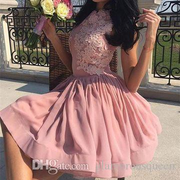 Modest A Line Jewel Knee Length Chiffon Short Prom Dresses Appliques Lace Cocktail party Homecoming Dresses Low Price
