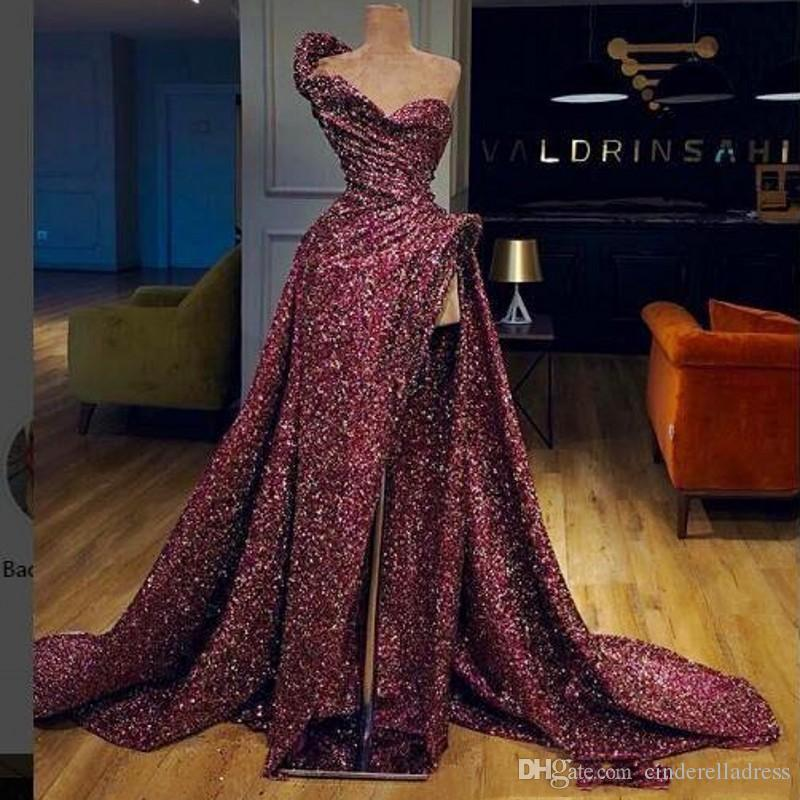 2020 Sexy New Burgundy One Shoulder Sequined Prom Dresses High Split Ruffles Sweep Train Evening Gowns Backless Formal Party Dress