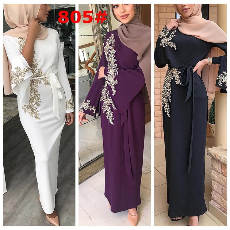 Zarif Müslüman Nakış Abaya Boncuk Tam Elbise Hırka Kimono Gevşek Uzun Robe Abiye Jubah Ortadoğu Eid Ramazan İslam