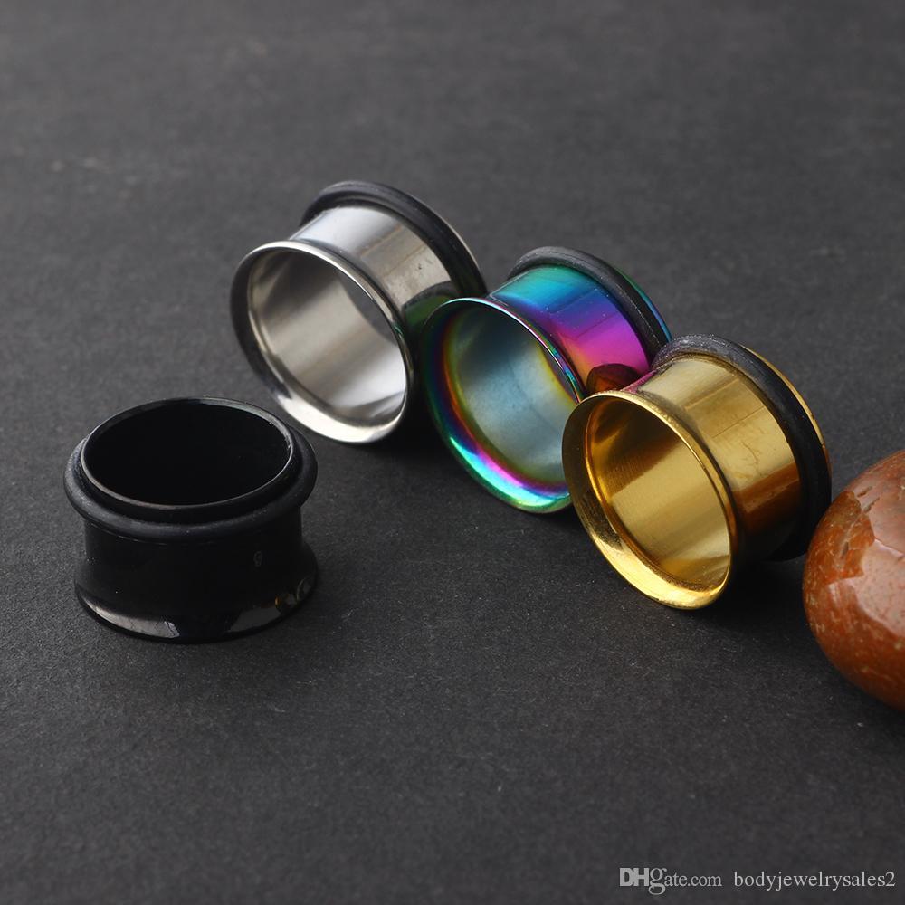مقياس الأذن المكونات الفولاذ المقاوم للصدأ واحدة اندلع 96PCS نفق لحم / الكثير مزيج 3 لون الأذن المتوسع تفتق المجوهرات ثقب الجسم