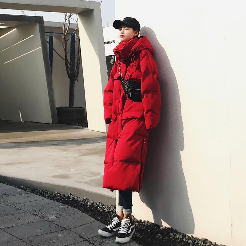 Thikcer 무성한 면화 코트 겨울 스트리트 스타일 따뜻한 분할 디자인면 코트 파카 여성 두꺼운 긴 후드 자켓 F90
