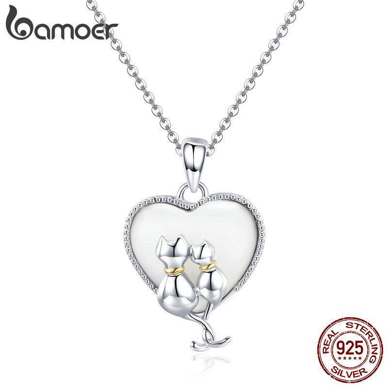 Bamoer Kadınlar Için 925 Ayar Gümüş Çift Kedi Kolye Kolye Tatlı Kalp Kolye Gümüş Takı Yaka Scn297 J190531