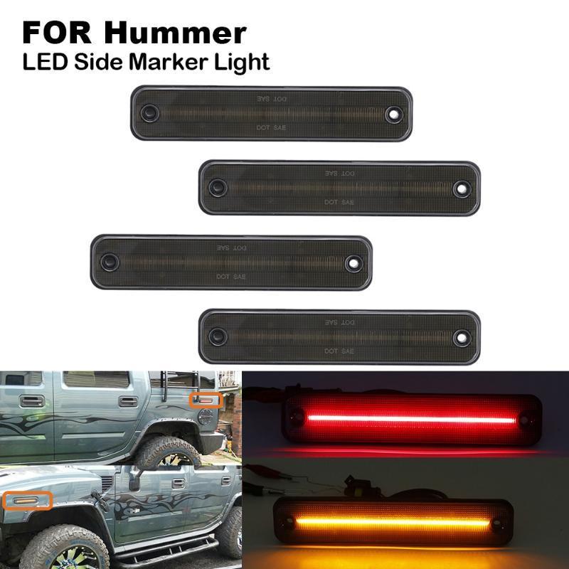 Geräucherte LED-Auto-Seitenmarkierungsleuchte Kontrollleuchte für Hummer H2 2003-2009 2X Front Side Marker (gelb) 2X Rück Marker (rot)