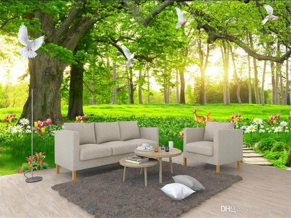 custom size 3d photo wallpaper living room mural green tree forest scenery painting picture sofa TV background wallpaper non-woven sticker