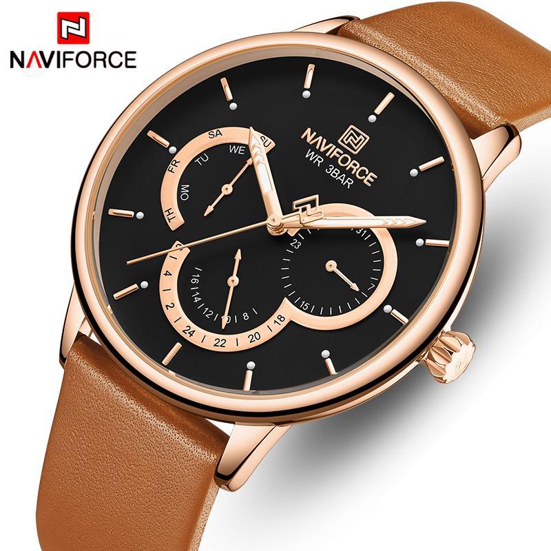 Naviforce Männer Uhren Mode Business Watch Herren Leder Wasserdichte Quarz Armbanduhr 24 Stunden männliche Uhr Relogio Masculino