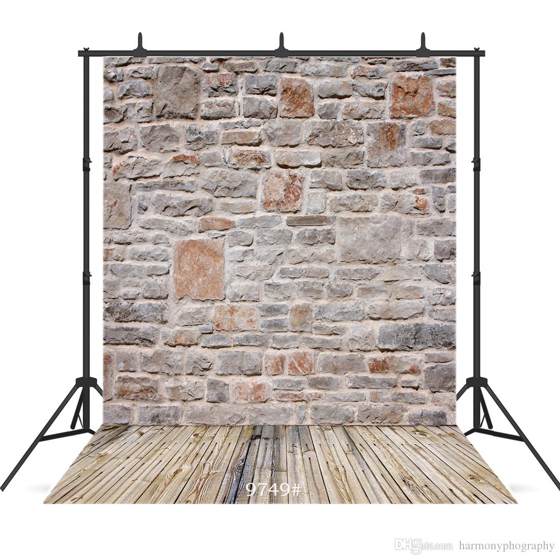 mixed brick wall wooden floor Vinyl photography background for portrait children baby shower new born backdrop photocall photo studio