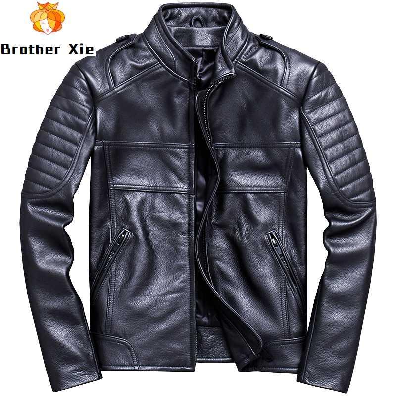 2020 Mens Motcle Boocker Cow Jet Black Pleated Slim Genual Cowhide Suit Windbreaker Coat Winter Outwear