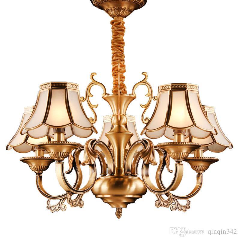 DHL 2019 Люстра в европейском стиле медные подвесные светильники гостиная люстра освещение спальня ресторан ретро люстра потолочный светильник