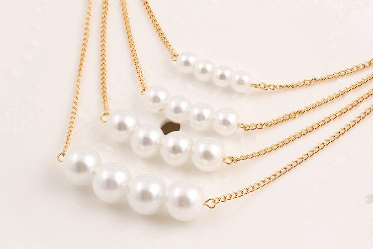 Europe and America multi - layer artificial pearl necklace temperament foreign trade clavicle chain sweater chain wholesale