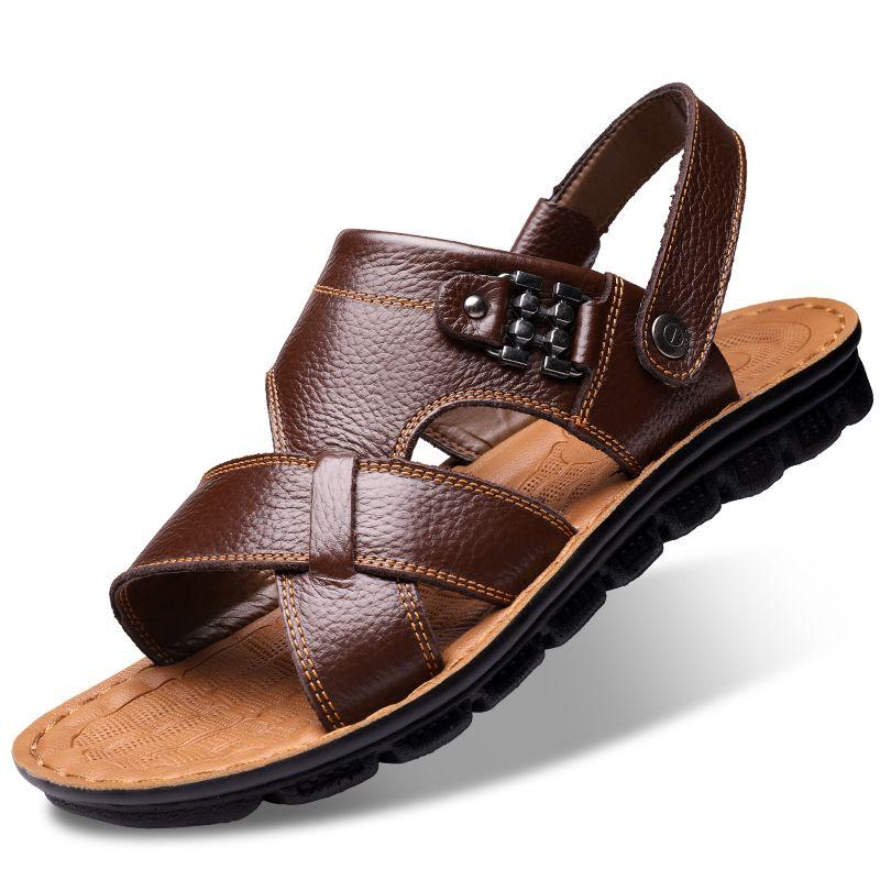 ventas al por mayor gran ajuste diseñador de moda Compre Sandalias De Cuero Para Hombre 2018 Zapatos De Playa De Verano  Nuevos Zapatillas Para Hombre Gran Tamaño 37 47 Suave Suave Papá De Moda ...