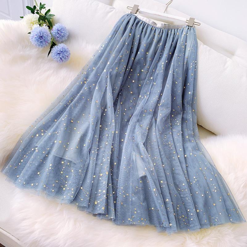 Skirts GIGOGOU 2021 Summer Women Star Sequined Tulle Skirt Elastic High Waist Lurex Pleated Chic A-LINE Holiday Beach Tutu