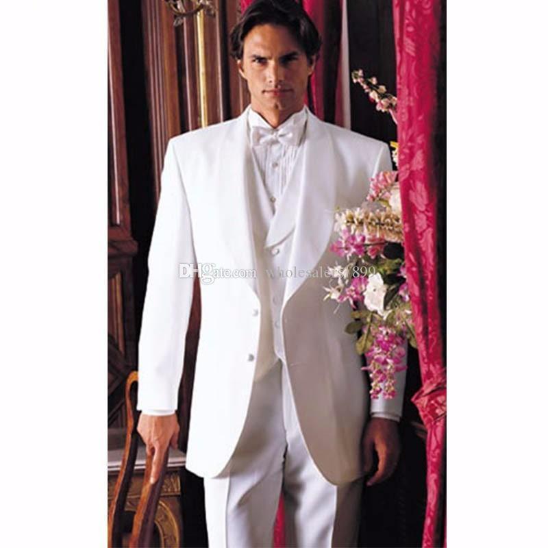 Новый популярный белый Шафер жених свадебное платье, отличные мужчины деловой активности костюм партии выпускного вечера костюм (куртка+брюки+жилет+галстук)нет:370