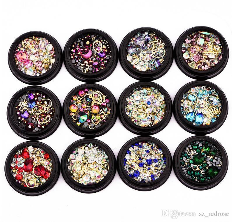 zoo bleu Ornements pour les ongles boîte noire 4cm couleur illusion couleur percée de fond + perceuse à fond plat + perles de fée + anneau de pierres précieuses mix 12 options