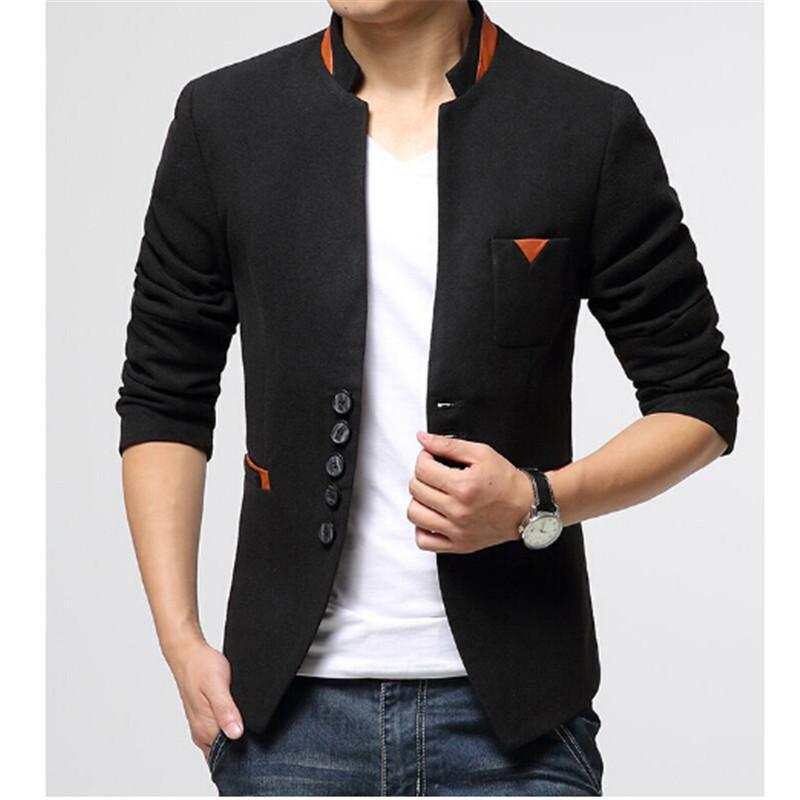 Бренд одежды мужчины свободного покроя пиджаки весна осень мужские Slim Fit пиджак куртка мужская однобортный шерстяной костюм горячий
