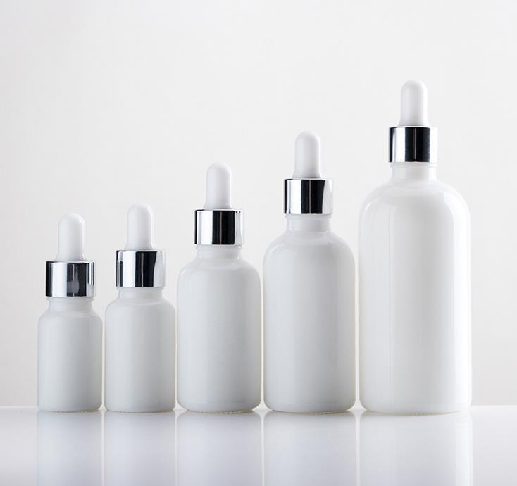 5 ml 10 ml 20 ml 30 ml 50 ml blanco perla de vidrio con gotero botella de perfume de tubos de muestras para SN581 botella de aceite esencial recargable