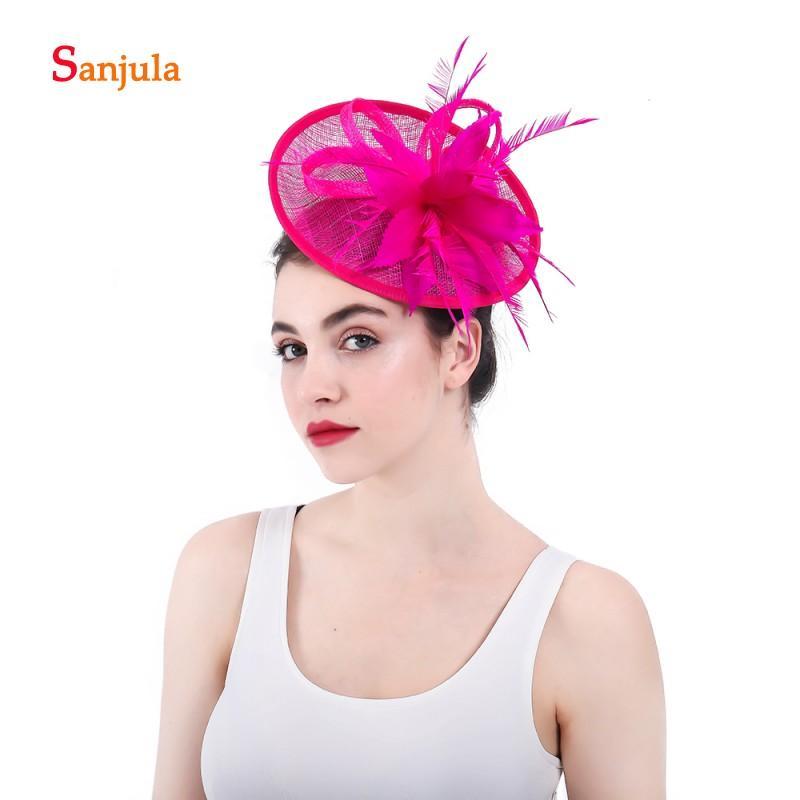 Fuchsia lin Chapeaux pour femmes plumes Forme Ronde Chapeaux de mariée Mariage Accessoires de cheveux avec épingles à cheveux Pamelas sombreros Bodas H63