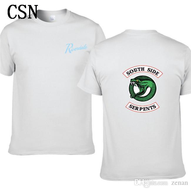 2020 Nova Riverdale Homens Mulheres Verão Green Snake Imprimir manga curta T-shirt da agitação Hip-Hop de algodão Imprimir T-shirt EL-6