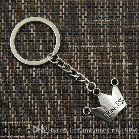 20PCS / LOT مفتاح حلقة سلسلة المفاتيح مجوهرات التاج بالفضة سحر قلادة اكسسوارات مفتاح