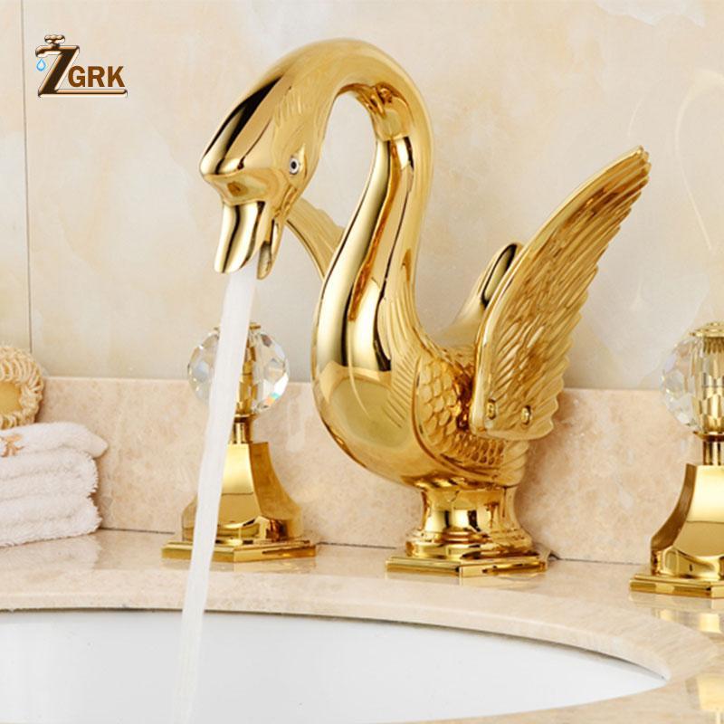 ZGRK Soild النحاس الذهب إنهاء حمام النحاس السيراميك الحنفية البجعة الذهبية شكل حوض الحنفية المزدوج التعامل مع سطح جبل