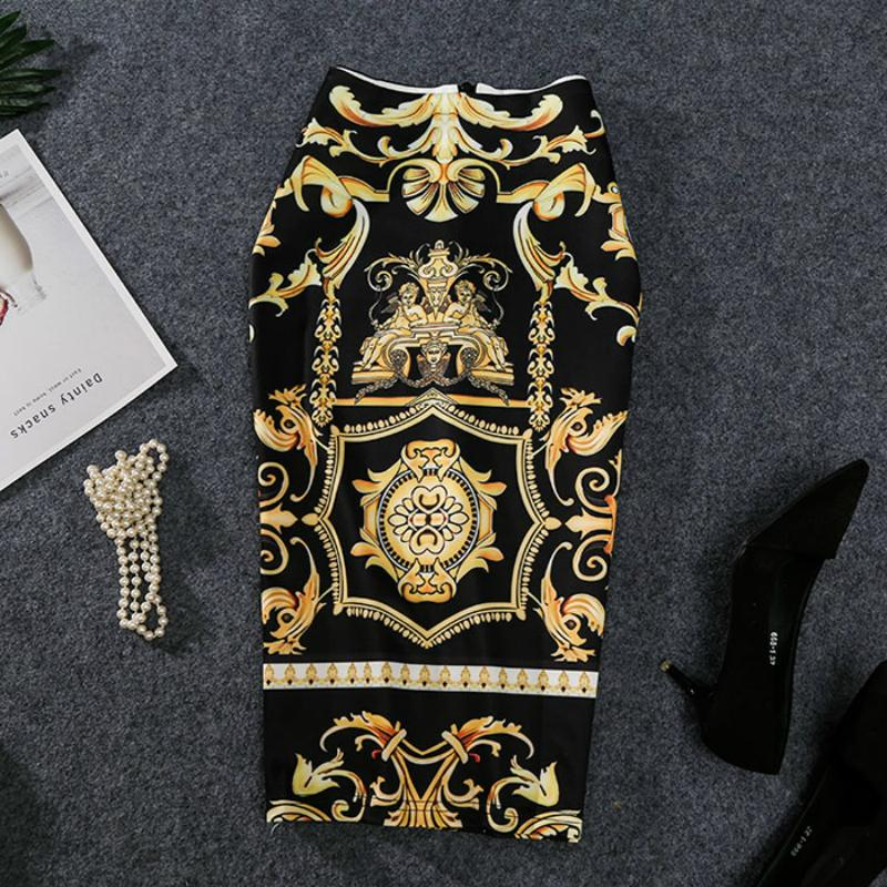 2019 New-Coming европейских женщин осень печати юбка-карандаш высокого Stretch абстрактный узор Midi скольжению Hip юбка Женский LY191203
