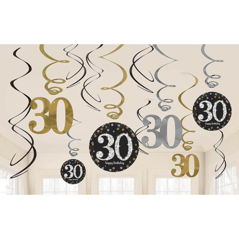 12pc 30 40 50 60 Happy Birthday Party Decorations Adult Customized Birthday Party Supplies Gold Silver Black Anniversary Decor,Q