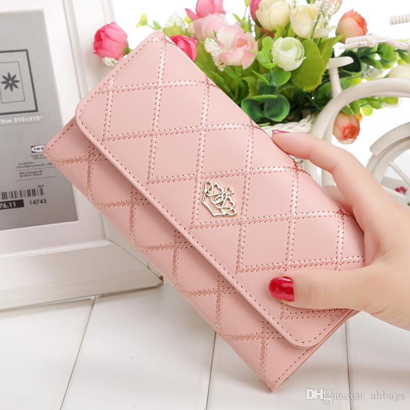 Women's Korean Style Embroidered Check, Plaid & Tartan Ladies Long Cowhide Wallet Multi-card Hand Holding Leather Purse For Gift