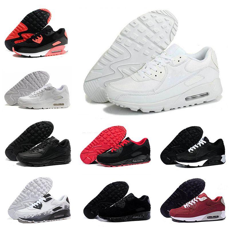 Новые мужские женские туфли классические 90 мужчин и женщин кроссовки черный красный белый спортивный тренер поверхность дышащие спортивные кроссовки обувь 36-45