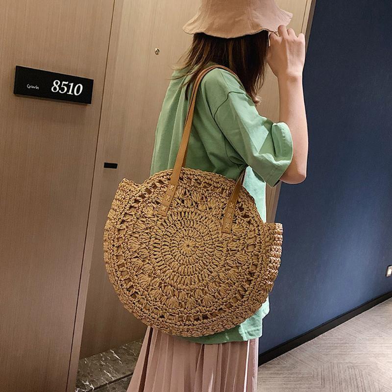 2020 Bolsas palha redondo Mulheres Verão Rattan Saco Handmade Woven Praia Crossbody Bag Círculo Bohemia Handbag Bali Bolso Paja