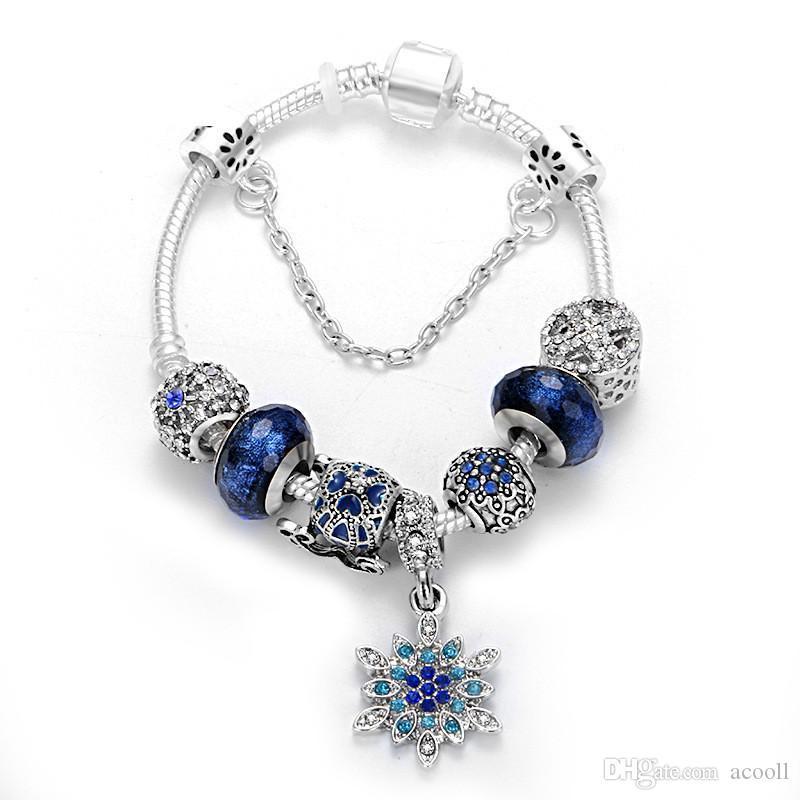 Синий тыквы автомобиля Шарм браслет из бисера Fit Pandora Стиль Снежинка кулон браслет Рождественский подарок ювелирные изделия